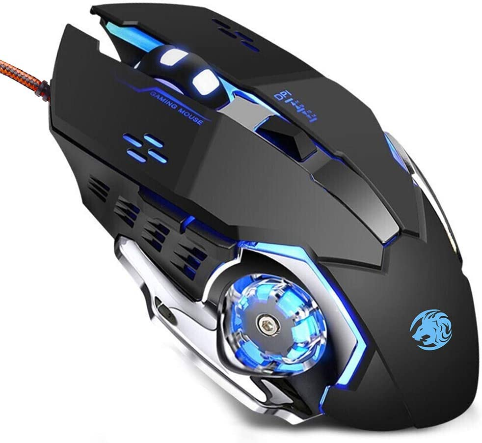 TENMOS K85 Wired Gaming Mouse Silent Click, Ergonomic Wired USB Computer Mouse with 4 Adjustable DPI, Breathing LED Light, 6 Buttons Compatible with PC, Laptop, Computer (Black)