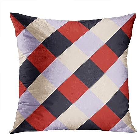 sherry-shop Funda de Almohada Throw Pillow Decor Square 20 X 20 Inch Rojo Negro Plaid Violet Tablero de ajedrez Diamond Super Soft Funda de cojín Decorativa Funda de Almohada Impresa
