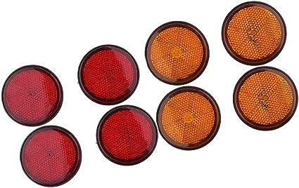 Kesoto 8x Universal Reflektor Rückstrahler Für Auto Motorrad Lkw Anhänger Rund Ø 55mm Rot Orange E Geprüft Schraubbar Auto
