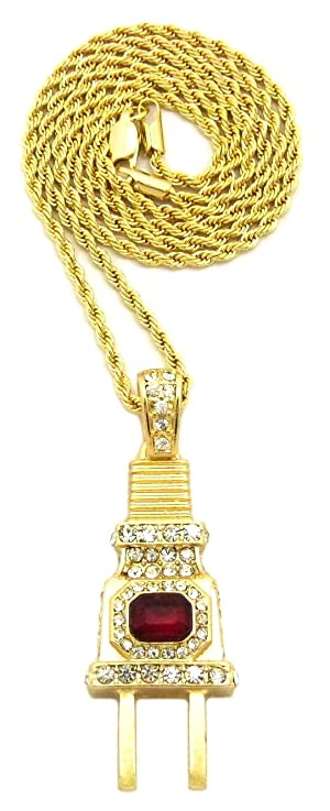 GWOOD The Plug Ruby Red Stone Iced Out Pendant With 24 Inch Long Rope Chain Necklace