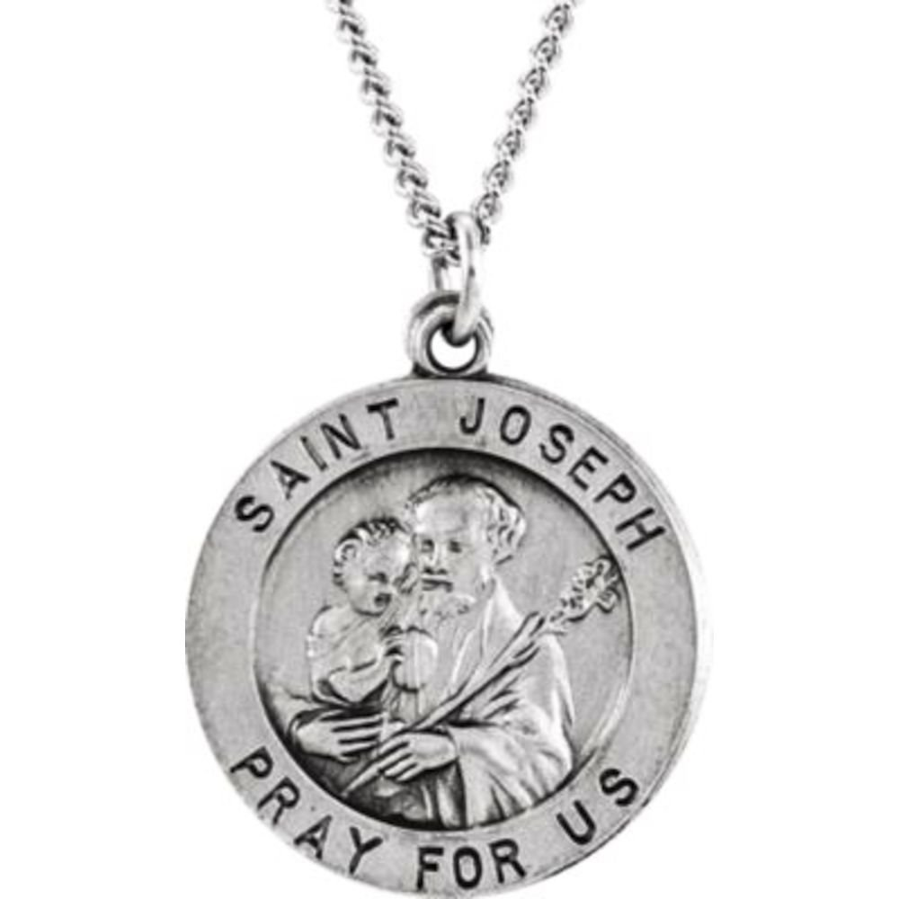 Joseph Medal 18 Necklace Bonyak Jewelry Sterling Silver 18 mm Round St