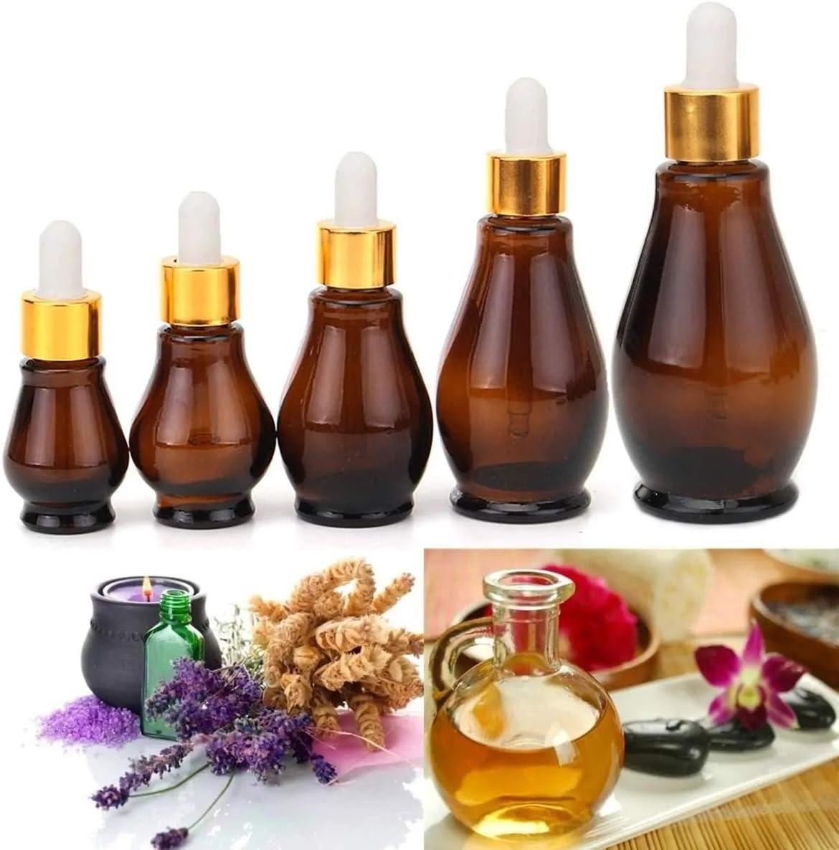LiChaoWen Botella de Spray de Niebla vacía 5pcs de Vidrio ámbar aromaterapia Botellas de pipeta cuentagotas (Color : Brown, Size : 50ml)