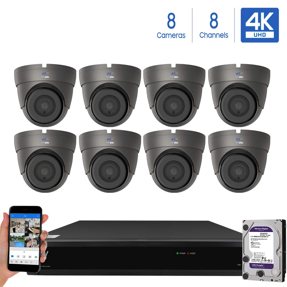GW Security Cameras System 8CH 3840×2160 HD-TVI 4K CCTV DVR Recorder 2TB HDD with 8 Weatherproof 3840TVL 8.0MP 100ft Night Vision UltraHD 4K Dome Surveillance Cameras, Email Alert with Snapshot