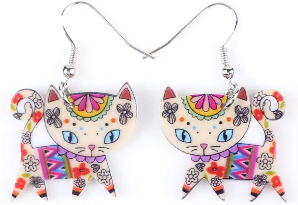EHXWL Pendientes de Gato de Marca de acrílico Largos y Grandes para Mujeres Bijou Animal Jewelry Cartoon Cute Girl Accessories
