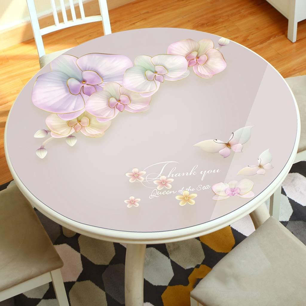 C 150cm LLH Nappe souple en PVC, nappe en plastique souple épaisse et résistante à l'huile et nappe de table ronde 3D ZHUOB (Couleur   E, taille   160cm)