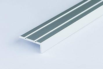 Perfil de aluminio antideslizante para bordes de escalera, 25 x 10 mm, 1 m: Amazon.es: Bricolaje y herramientas