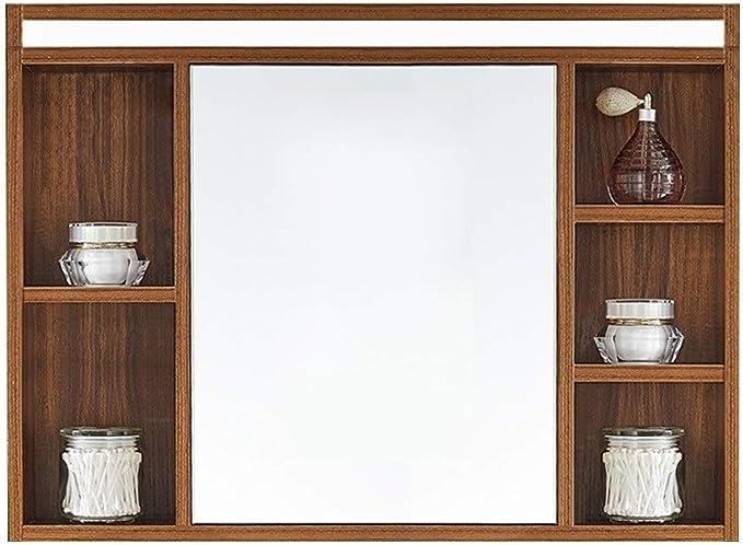 Armarios con espejo Espejo De Baño Gabinete Madera Maciza Espejo De Baño Dormitorio con LED Espejo Faros Sala De Estar Montado En La Pared De Almacenamiento Espejo Gabinete: Amazon.es: Hogar