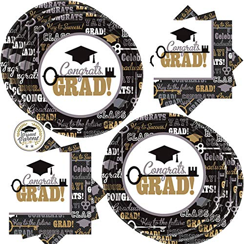 Congrats Grad Class of 2019 Graduation Party Supplies Pack For 60 Guests With 60 Keys To Success Dinner Paper Plates, 125 Luncheon Napkins, and Exclusive Proud Parent Pin By Another Dream