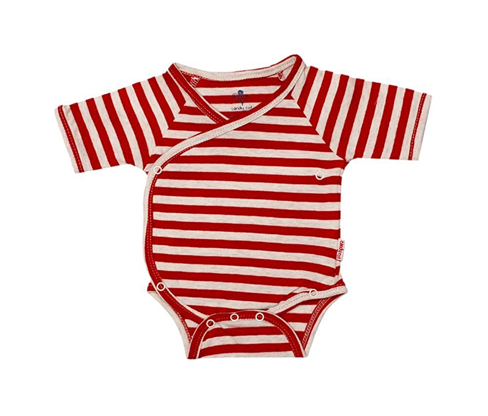 CANDY COT Cotton Open Front Kimono Romper/Onesie.Ideal for Tiny or  Premature Babies - (7-7 Months, Off-White & Red)