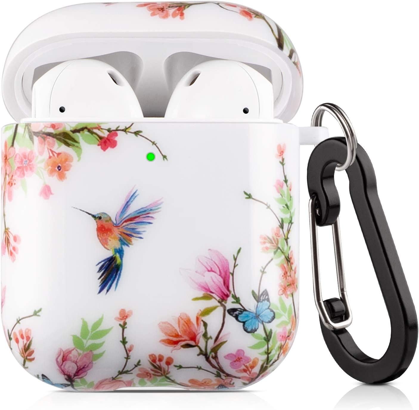 Lokigo Airpods Protective Case Cover Hummingbird Compatible for Apple Airpods Charging Case 2&1, Hard Case Kit with Keychain, a Great Gift for Girls Women Men - Front LED Visible (Flowers Hummingbird)