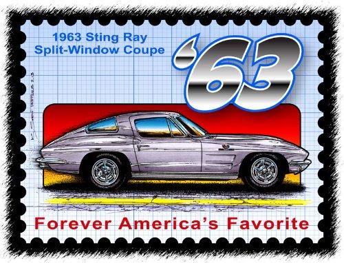 Stingray Postage Stamp Series - 1963 Sting Ray Split-Window Coupe 1963 Corvette Stingray Split Window