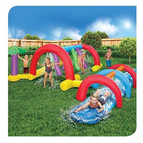 BANZAI Backyard Adventure Water Park Slide Sprinklers, 17.9 Foot Long Fun Course Party