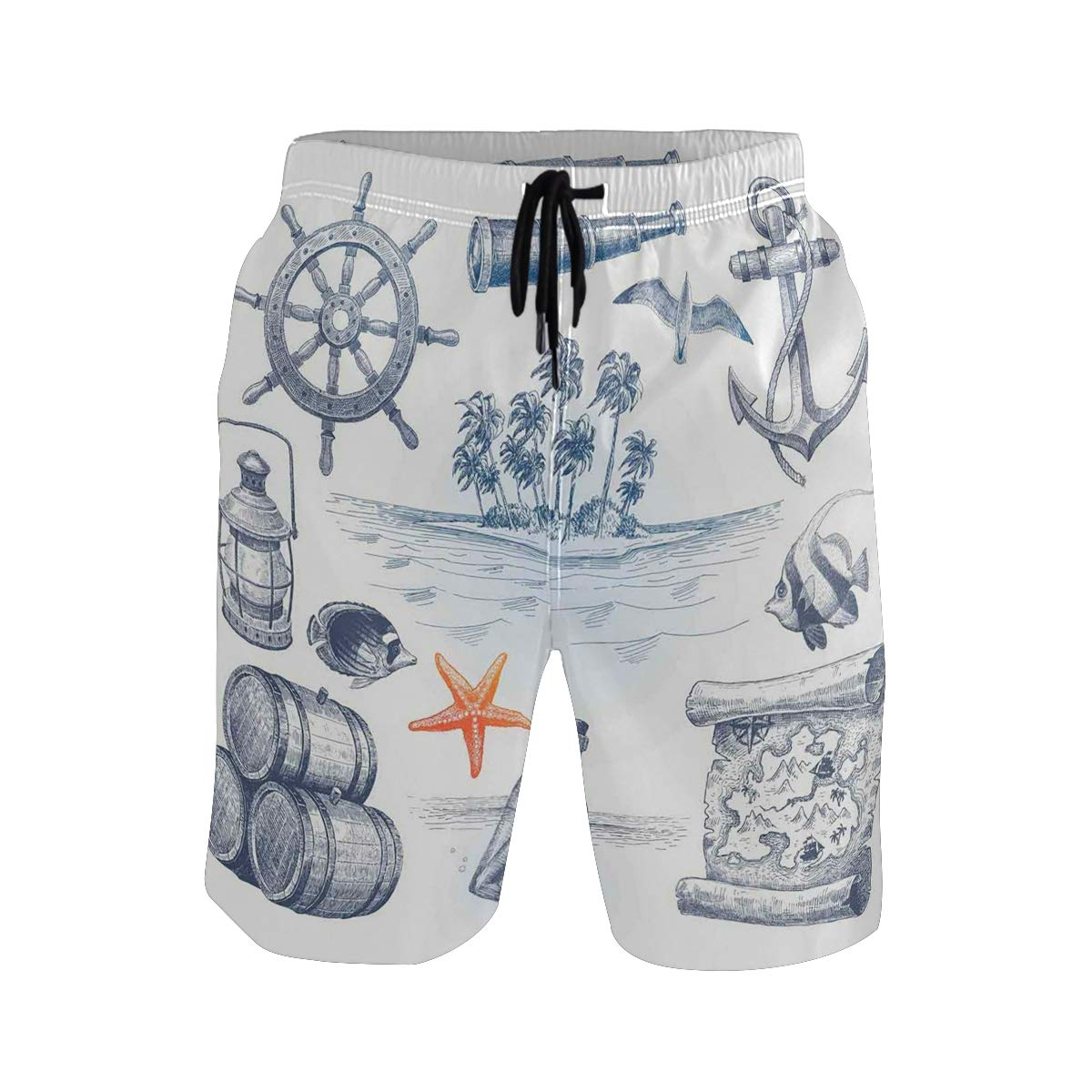 KVMV Anchor Bottle and Map Nautical Holiday Adventure with T Quick Dry Beach Shorts