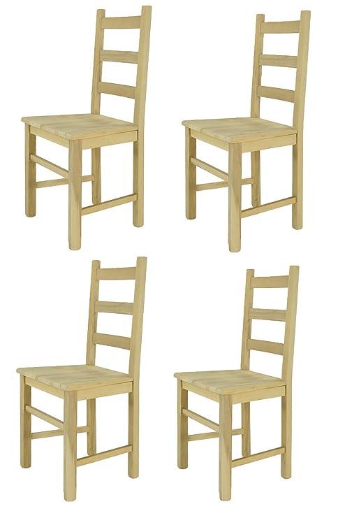 Tommychairs sillas de Design - Set 4 sillas clásicas Rustica para Cocina, Comedor, Bar y Restaurante, con solida Estructura en Madera de Haya lijada, ...