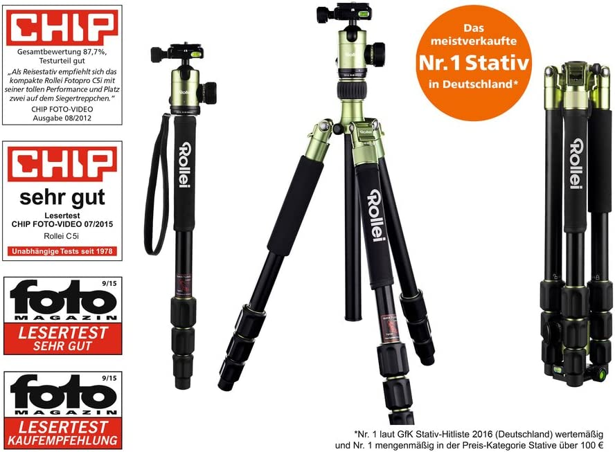 Rollei C5i Max Load 8 kg Arca Swiss Compatible Aluminum Tripod with Panoramic Ball Head Titanium