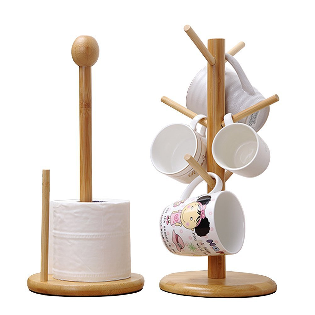 GossipBoy Wooden Removable Tea Cups Storage Tree Bamboo Coffee Mugs Organizers Drying Hanging Stand and Roll Paper Holder Rack Set Generic FEMIHGFJGUGD377