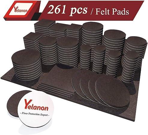 Yelanon Furniture Pads 261 Pieces Self Adhesive Felt Pad Brown