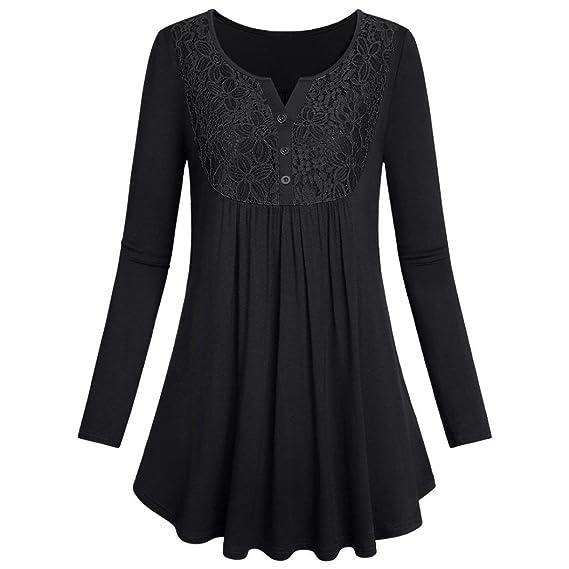 moonuy Womens manga larga color Unie botón encaje Top Casual Blusa Camisas Mujer Botón Lace elegante