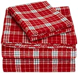 AmazonBasics Yarn-Dyed Lightweight Flannel Sheet Set - Twin Extra-Long, Bordeaux Plaid