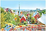 The Famous Summer Park Guell Over Bright Blue Sky In Barcelona, Spain Poster 19 x 13in