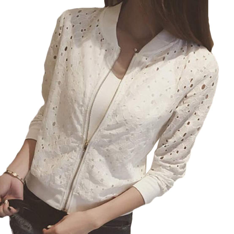 JXG Women Cut Out Jacket Long Sleeve Lace Baseball Uniform Zip up Outwear White US L