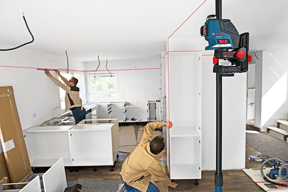 0601063309 Bosch Professional GLL 3-80 P ref Nivel l/áser de l/íneas cruzadas con placa receptora de medida, funda protectora, soporte, malet/ín L-BOXX, 3 l/íneas de proyecci/ón de 360/º, alcance: 40 m
