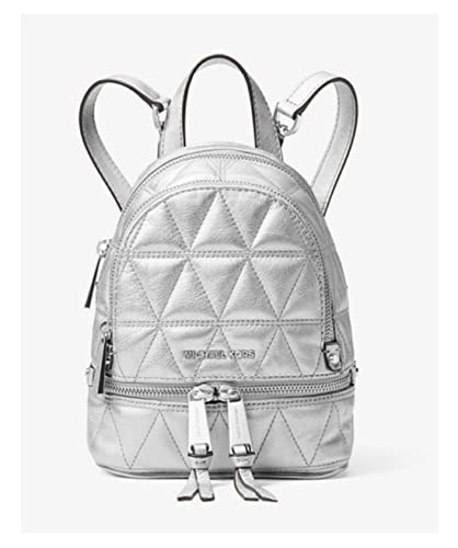 b47da33cf2d7 MICHAEL Michael Kors Rhea Mini Metallic Quilted Leather Backpack in Silver