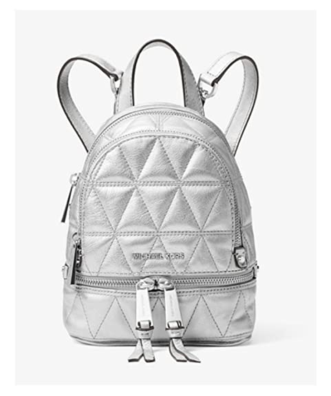 105a35950ad3 MICHAEL Michael Kors Rhea Mini Metallic Quilted Leather Backpack in Silver   Amazon.ca  Shoes   Handbags