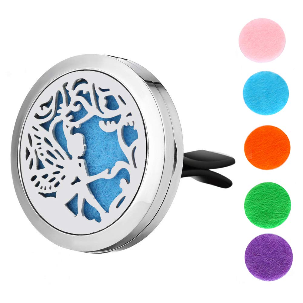 GerTong 1PCS Aromatherapy Car Diffuser Vent Clip Essential Oil Diffuser for Car Air Freshener Stainless Steel Aromatherapy Hollow Locket with 5 Washable Color Pads (A) BH229W5GS20JUN851TF6