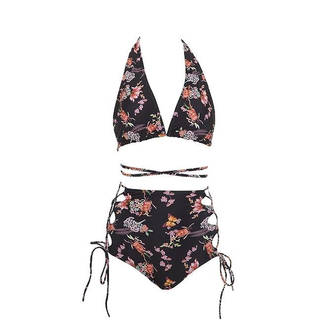 fd9b6a0fa9659 Amazon.com: Running Mall Halter Top Triangle Bikini Set Strappy High  Waisted Two Piece Swimsuits Swimwear: Clothing