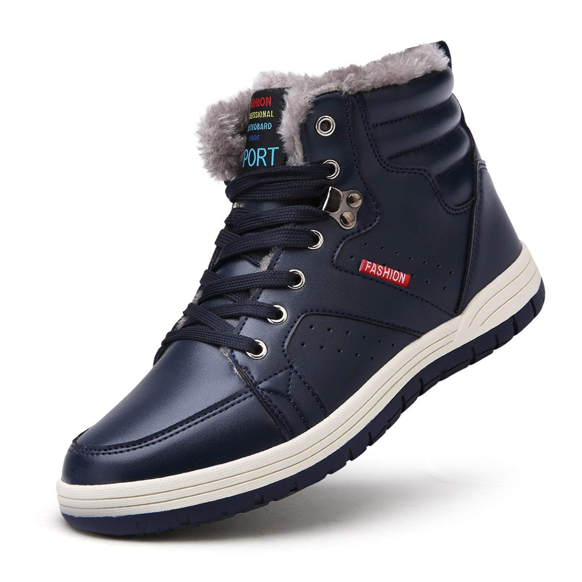 SONLLEIVOO Winter Snow Boots for Men Waterproof Lace up Ankle Sneakers Warm Shoes with Fur Lining