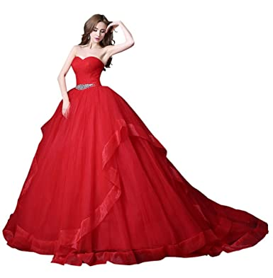 c8262ae89a Beauty-Emily Sweetheart Neckline Tulle Two Layers Lace-Up Beading Engagement  Marriage Banquet Wedding Fashion Dresses Color Red