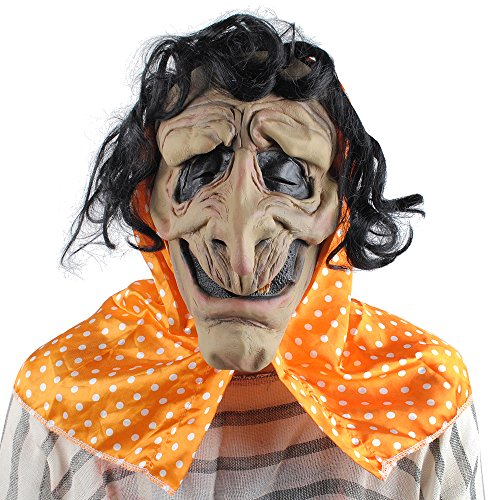 Halloween Old Witch Mask Evil Hag Mask with Hair and Headscarf Adult Men and Women Costume Masquerade Party - Old Lady Mask With Scarf