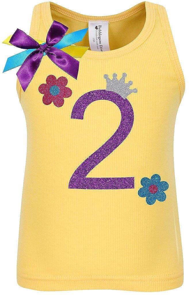 Bubblegum Divas Little Girls 2nd Birthday Yellow Daisy Flower Shirt