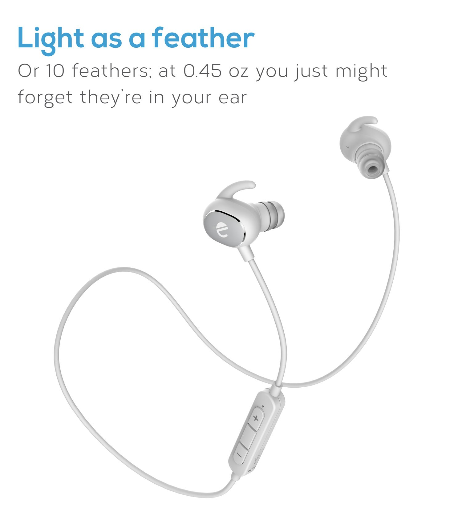 eeco Bluetooth Earphones Wireless Sport with Mic Earbuds Headphones Bluetooth 4.1 Lightweight Sport Hi-Fi Stereo in Ear APTX Stereo Sweatproof for Iphone, Tablets, Laptops, and other Smartphones