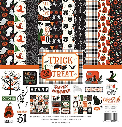 Halloween Scrapbooking Paper (Echo Park Paper Company TT186016 Trick Or Treat Collection Kit Paper, Orange, Black, Green,)