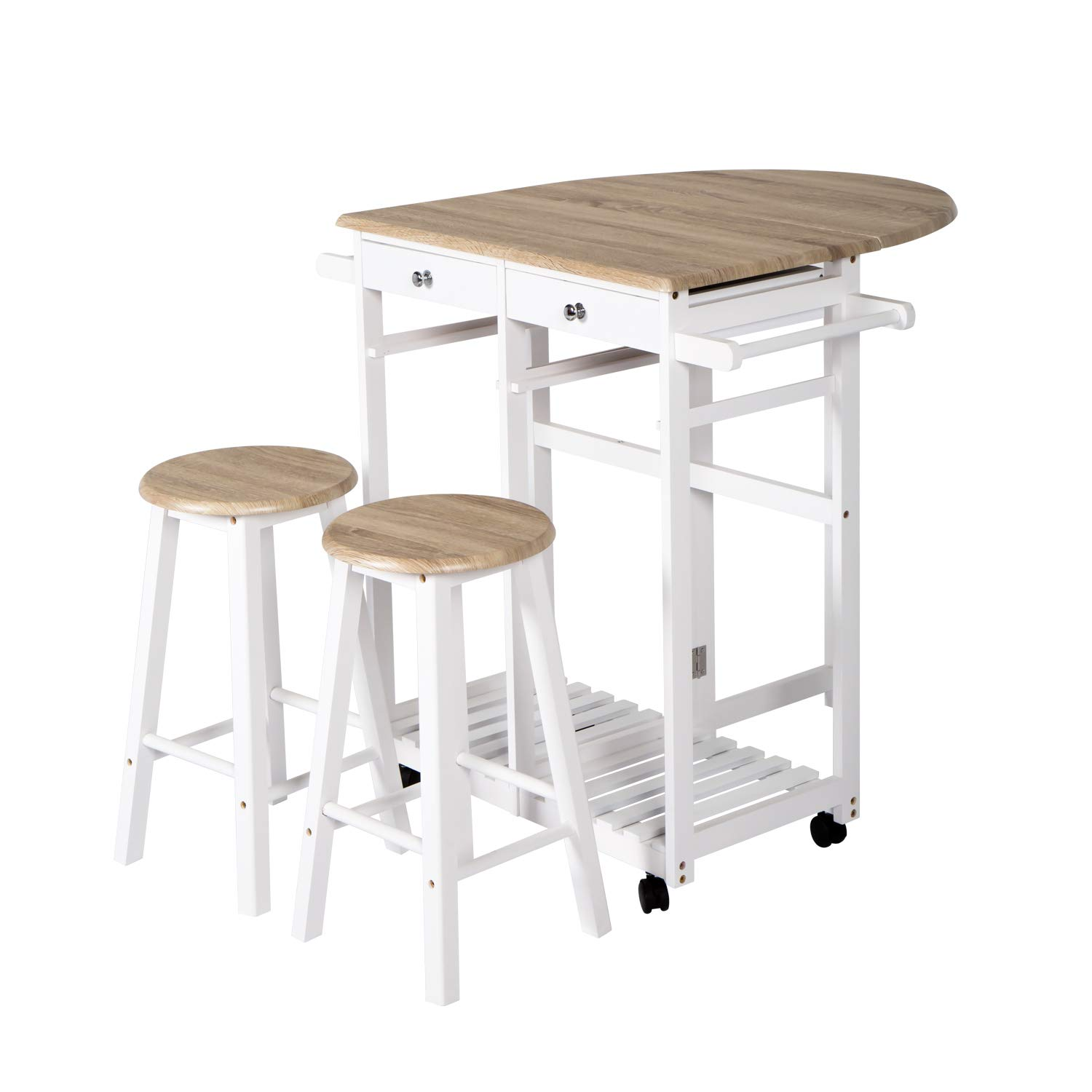 Multi-Purpose Wood Rolling Wood Kitchen Island Trolley Cart Wood Top Storage Cabinet Utility (White & Wood Color)