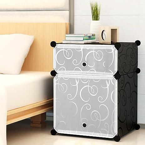 KOUSI Portable Plastic Nightstand End Table DIY Storage Cabinet Temporary  Use Furniture, Black