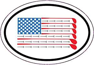 Golf American Flag Vinyl Decal - Patriotic Flag Golfing Bumper Sticker - Perfect for Laptops Tumblers Windows Cars Trucks Walls