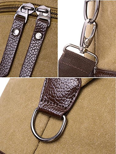 Gran capacidad bolso para los hombres Lona bolsa de hombro Modo viaje bolsa Cuerpo Cruz bolso-Verde Caqui