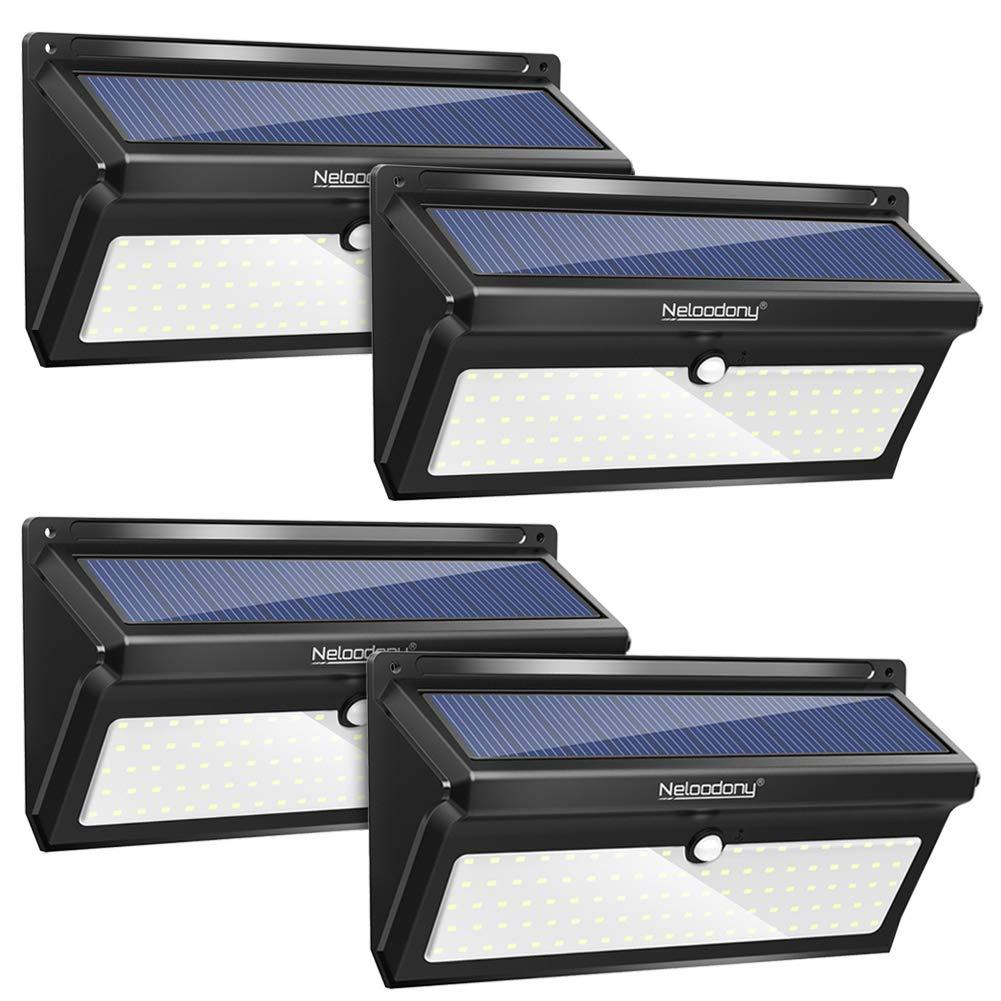 Neloodony Solar Lights Outdoor 100 LED Waterproof Solar Motion Sensor Light Outdoor Super Bright Security Wall Lights for Backyard, Patio, Garden, Garage, Shed,Steps,Deck (4 Pack)