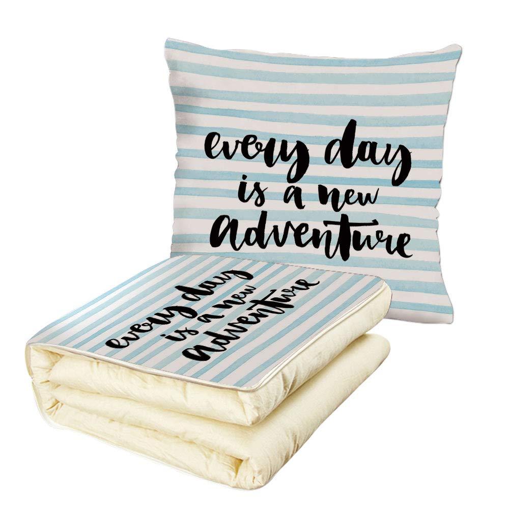 Quilt Dual-Use Pillow Adventure Every Day is a New Adventure Quote Inspirational Things About Life Artwork Multifunctional Air-Conditioning Quilt Baby Blue Black