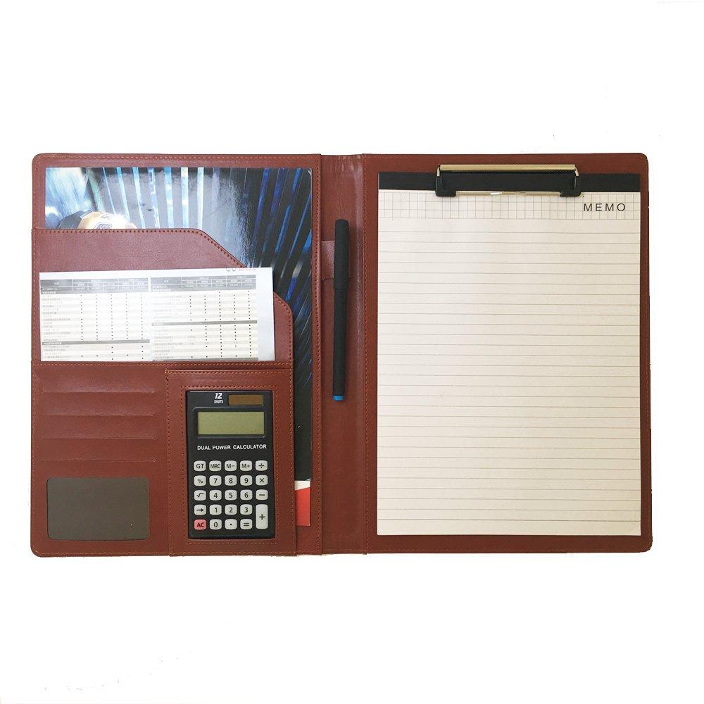 Nero Agenda da ufficio con calcolatrice e cartellina portadocumenti da conferenza Custodia per documenti formato A4 cartellina in pelle per conferenze e lavoro con portablocco tasca interna e carta