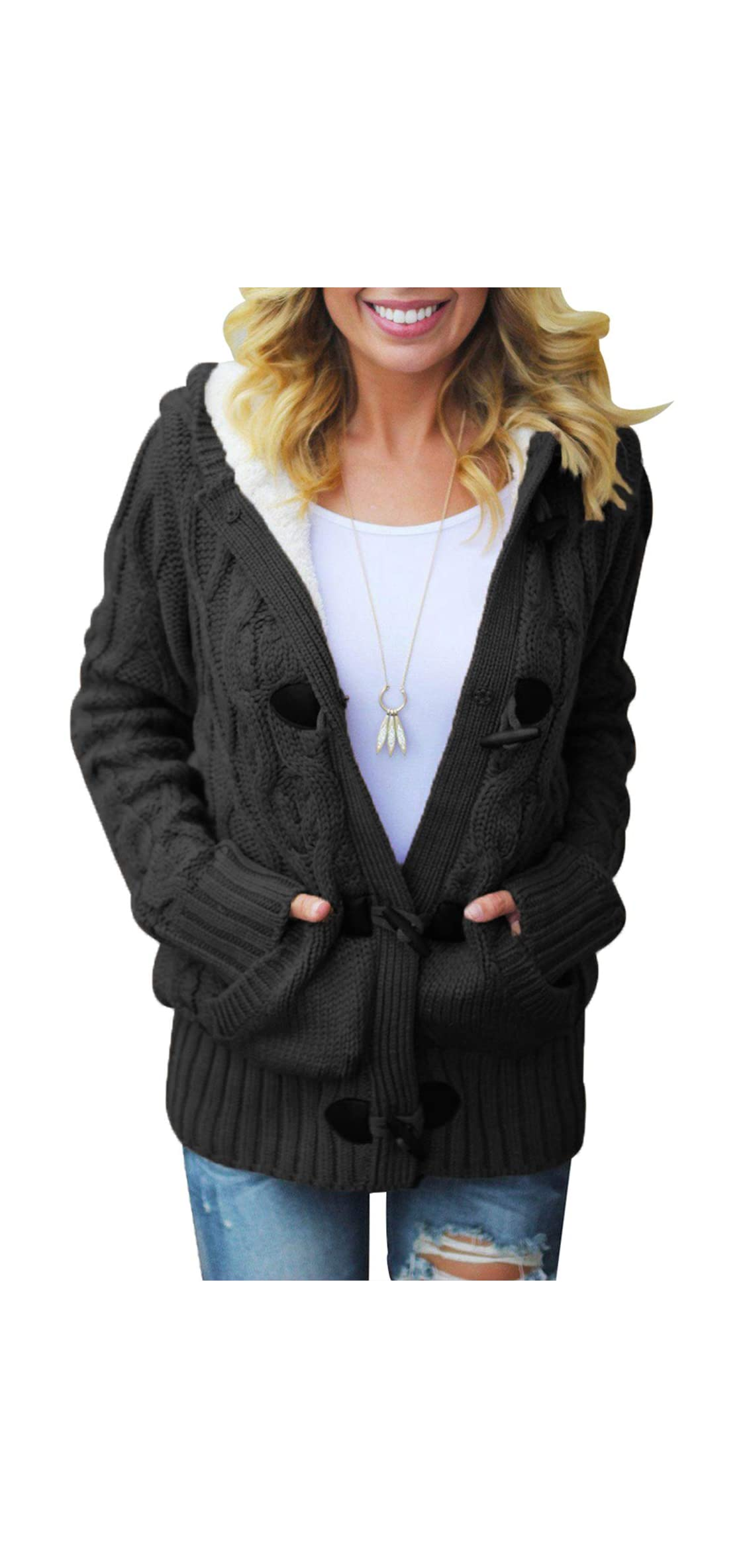 Womens Hooded Cardigans Button Up Cable Knit Sweater