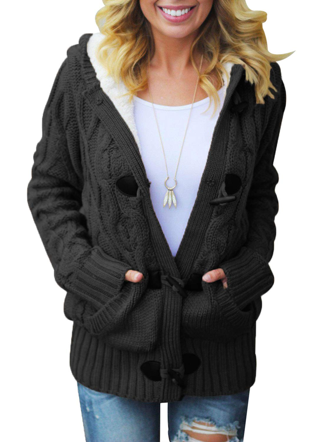 Dokotoo Womens Fashion Regular Plus Size Winter Hooded Casual Cardigans Solid Open Front Long Sleeve Cable Knit Sweater Fleece Coat Outwear Black X-Large