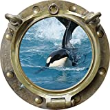 12'' Porthole Instant Ocean Window Sea View ORCA KILLER WHALE #1 ANTIQUE BRONZE Wall Sticker Kids Decal Room Home Art Décor Graphic SMALL