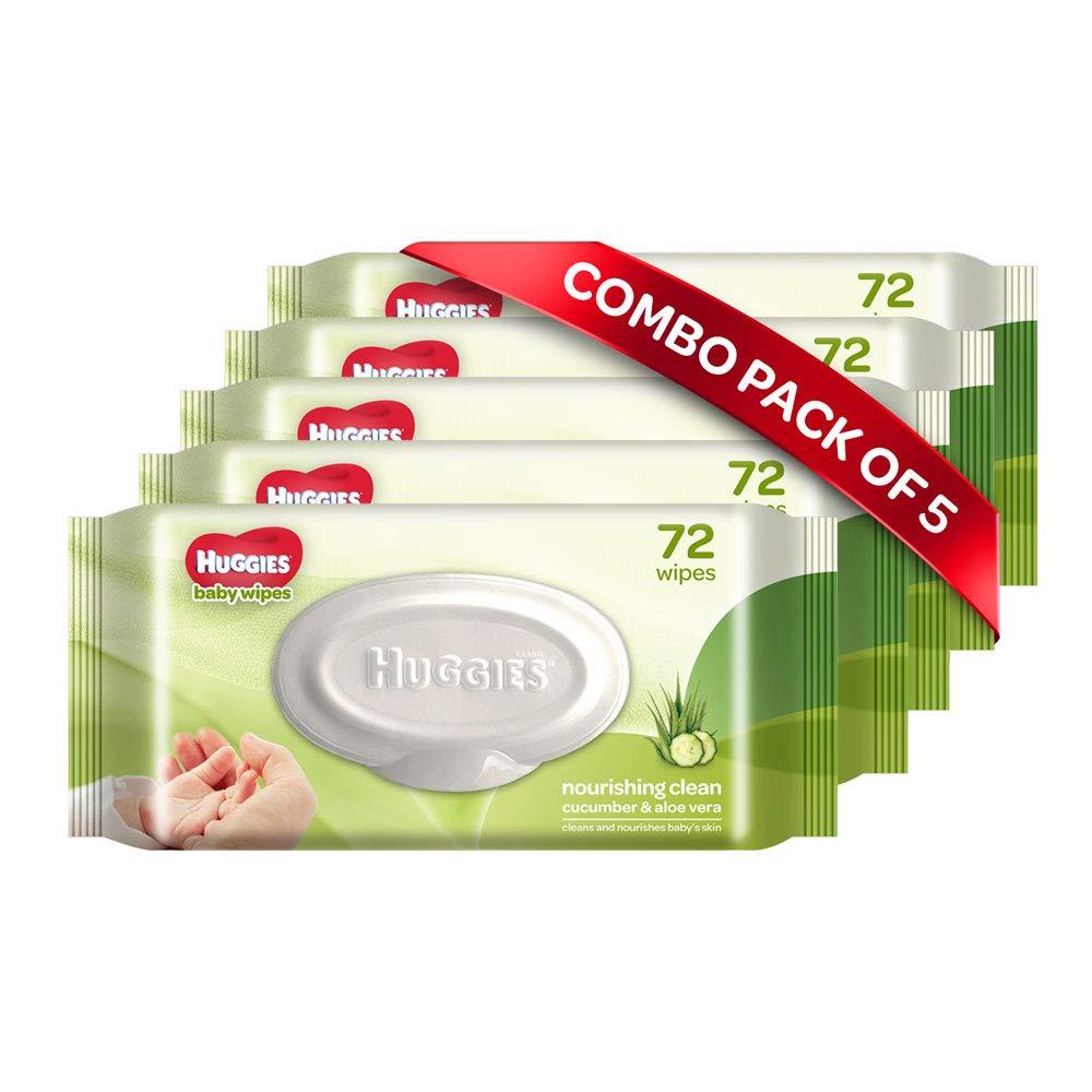 Huggies Baby Wipes, Cucumber & Aloe, Pack of 5, 360 wipes