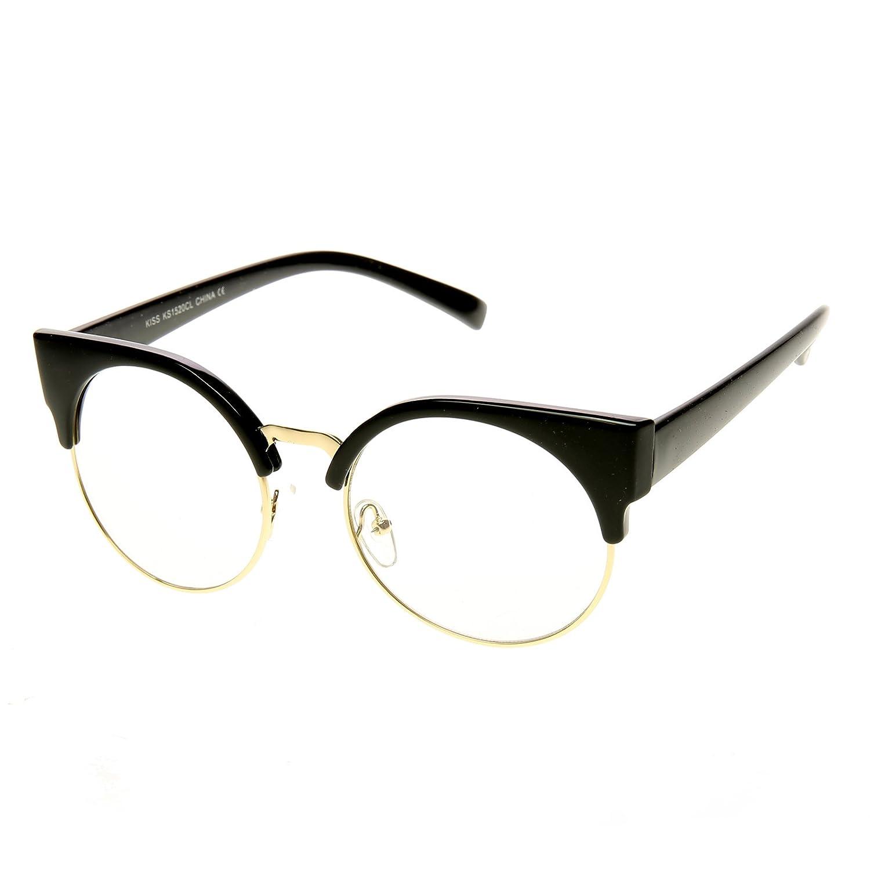 Amazon.com: zeroUV - Womens Half Frame Semi-Rimless Clear Lens Cat ...