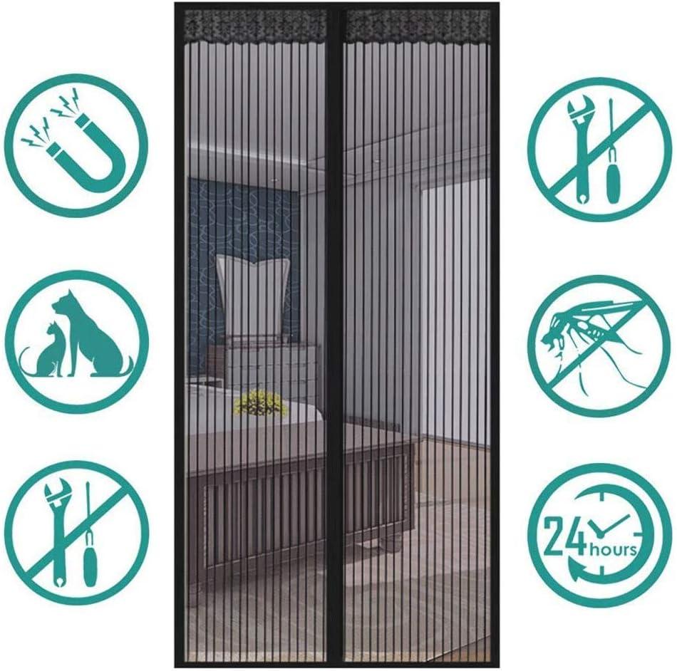 HUANGXIU Mosquitera Magnética para Puertas, Cortina Mosquitera para Puertas, Cerrado automáticamente Plegable Cortina Ultrafina para Pasillos/Puertas,Negro,105 * 220cm
