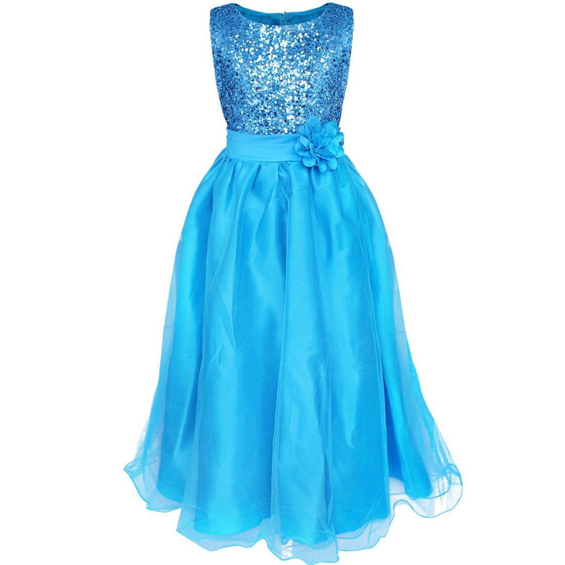 YiZYiF YiZYiF Blumen-Mädchen Kleid Pailletten Prinzessin Kleid ...